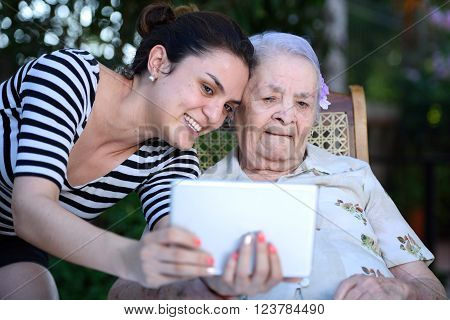 Girl Take Selfie With Grandma