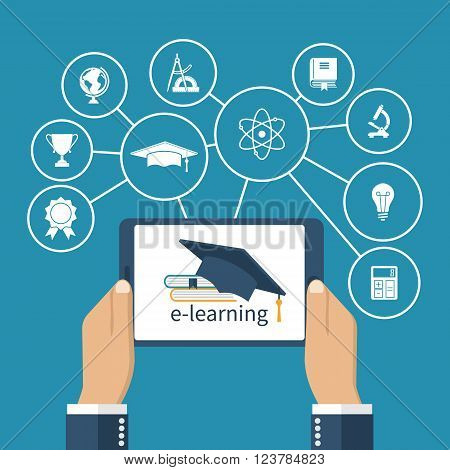 Student holding a tablet in hands. Concept of online education. E-learning. E-learning concept. Vector illustration Flat design. Virtual interface with icons education.