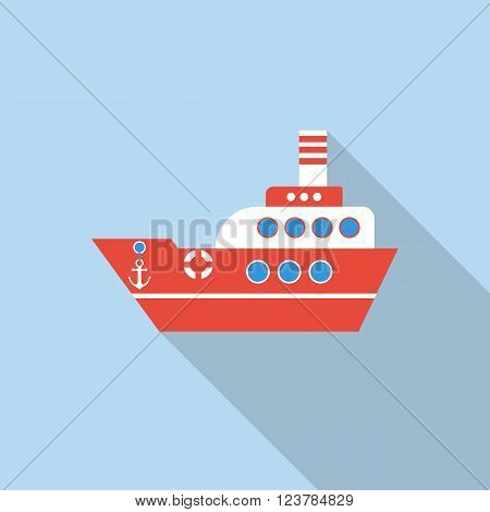 Boat Vector, Flat Style With Long Shadows.