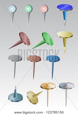 Set of colorful metal drawing pins and thumbtacks - 3D