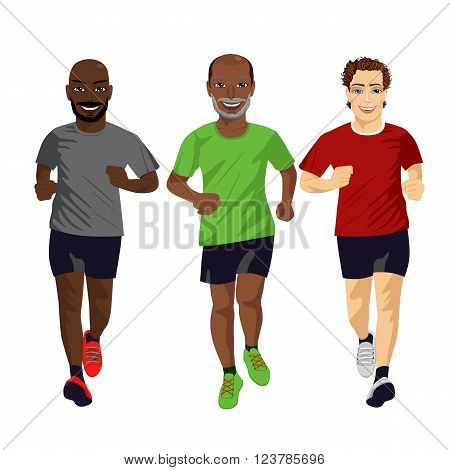 Group of male runners exercising isolated on white background
