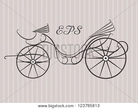 Vintage horse carriage invitation template. Retro carriage vector