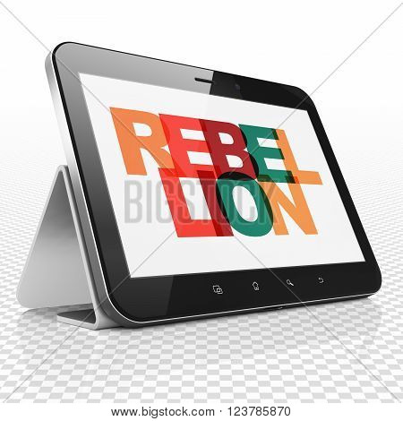 Political concept: Tablet Computer with Rebellion on  display