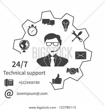 Customer service technical support customer support technical service call center. Vector illustration flat design.