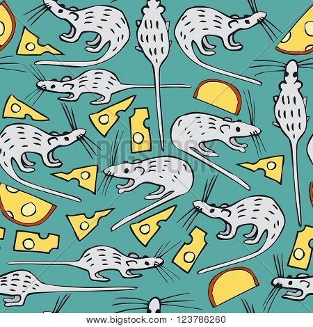 Seamless Vector Pattern with White Rats and Cheese on a Turquoise Background