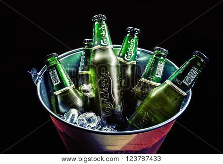 Six Bottles Of Carlsberg Beer