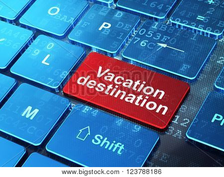 Vacation concept: Vacation Destination on computer keyboard background