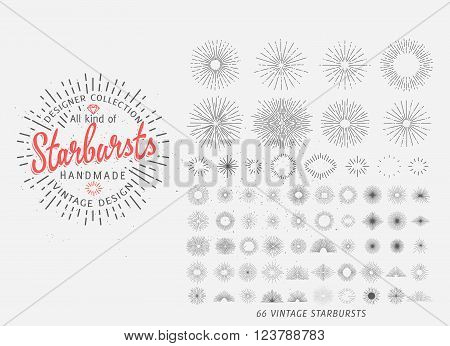Big collection of 66 trendy hand drawn retro sunburst/bursting rays design elements