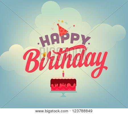 Vintage Happy Birthday Typographical Background Flat Birthday cake illustration