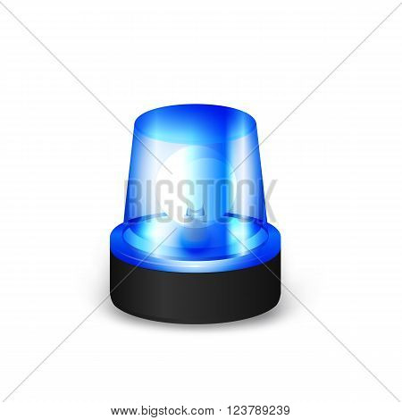 Blue Emergency Flashing Siren on a White Background.