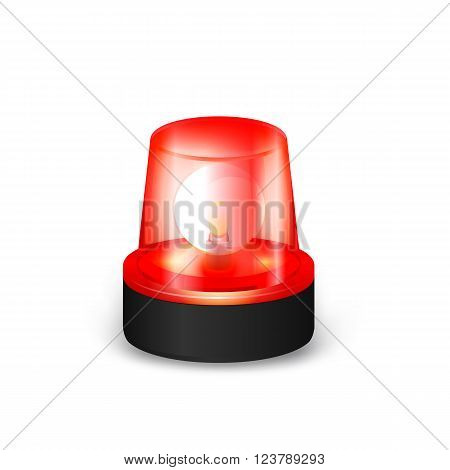 Red Emergency Flashing Siren on a White Background.