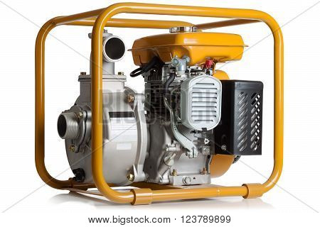 Pump for water with the gasoline engine on a white background.