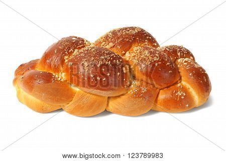 Sweet challah bun isolated on white background