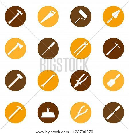 Set of construction tools on color bakground, vector illustration