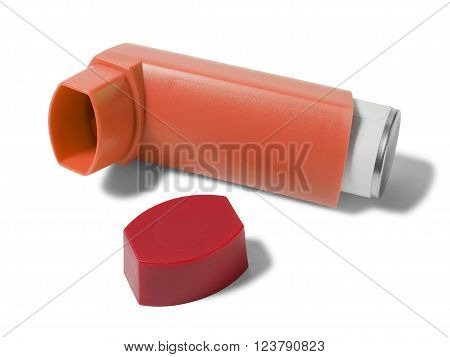 Open asthma inhaler isolated  on white background
