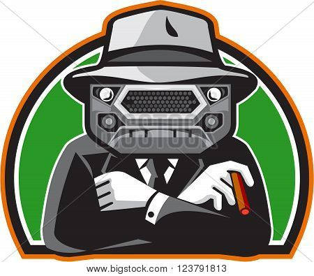 Illustration of an angry mobster with car grille grill face wearing hat tie and suit arms folded facing front set inside half circle done in retro style.