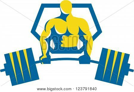 Illustration of a weightlifter lifting barbell midlift viewed from front set inside shield crest done in retro style.