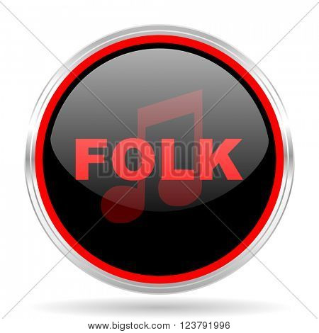 folk music black and red metallic modern web design glossy circle icon