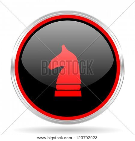 chess horse black and red metallic modern web design glossy circle icon