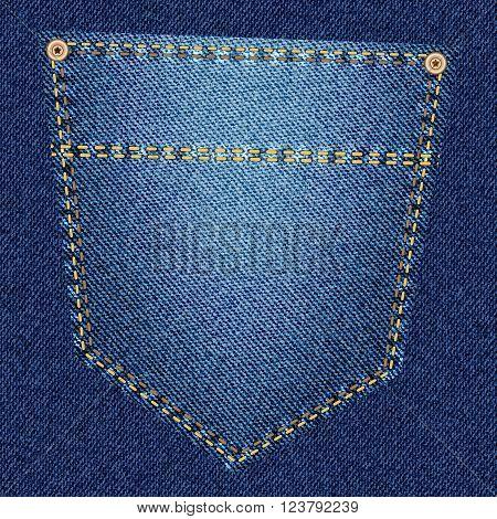 Back pocket of blue jeans close-up as background. Vector EPS10