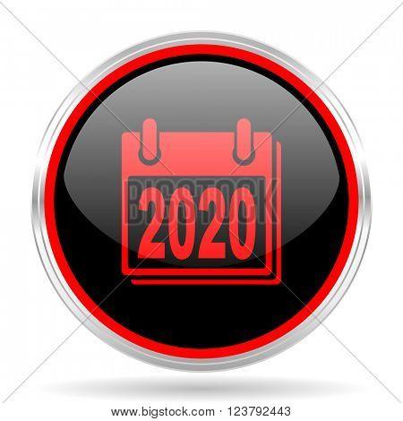 new year 2020 black and red metallic modern web design glossy circle icon
