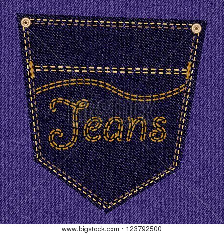 Back pocket of purple jeans closeup as background. Vector EPS10