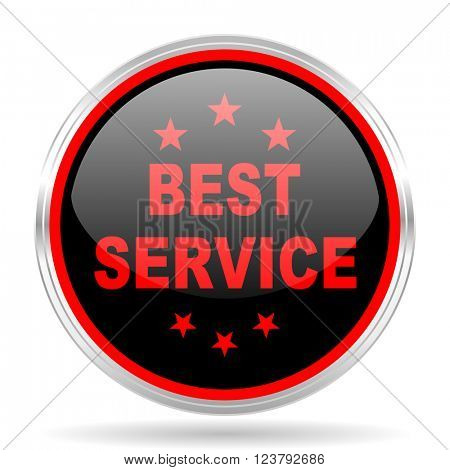 best service black and red metallic modern web design glossy circle icon