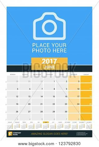 June 2017. Wall Monthly Calendar For 2017 Year. Vector Design Print Template With Place For Photo An