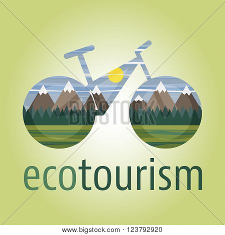 Eco tourism vector icon and logo with ecologic bike