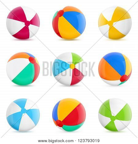 Beach Balls. Set of Isolated Beach Balls.