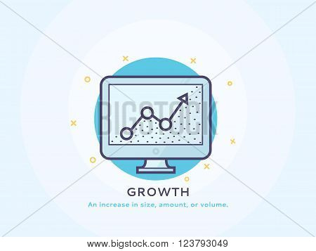 Growth diagram icon - Thin line flat design of business project startup process Flat modern color icons for marketing and business strategy