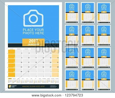 Wall Monthly Calendar for 2017 Year. Vector Design Print Template with Place for Photo and Year Calendar.