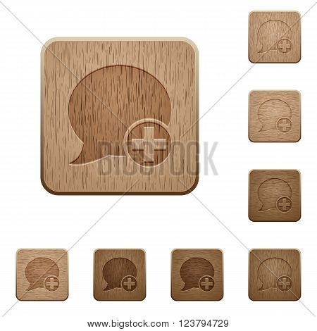 Set of carved wooden Post blog comment buttons in 8 variations.