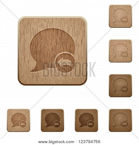 Set of carved wooden Reply blog comment buttons in 8 variations.