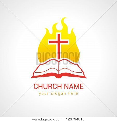 Cross on the flame bible church logo. Template logo for the church in the form of the bible with the cross and flames