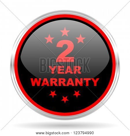 warranty guarantee 2 year black and red metallic modern web design glossy circle icon