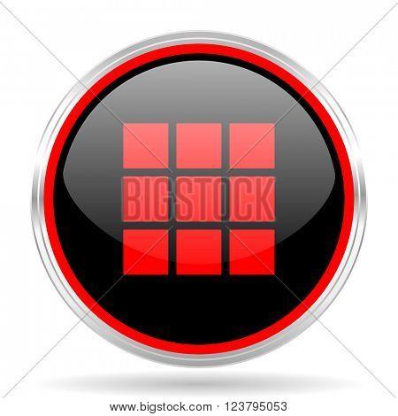 thumbnails grid black and red metallic modern web design glossy circle icon