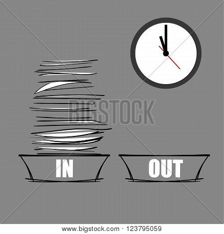 Vector illustration of a full IN tray and an empty OUT tray underneath a modern wall clock as a concept for being overworked and under pressure