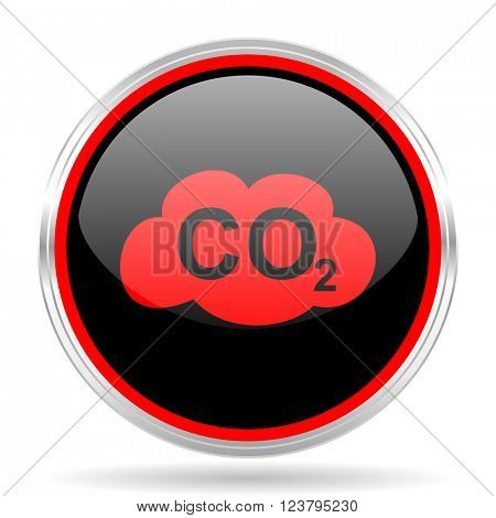 carbon dioxide black and red metallic modern web design glossy circle icon