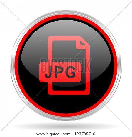 jpg file black and red metallic modern web design glossy circle icon