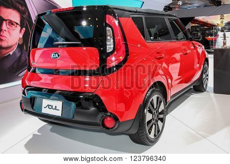 NEW YORK - MARCH 23: A KIA SOUL at the 2016 New York International Auto Show during Press day,  public show is running from March 25th through April 3, 2016 in New York, NY.