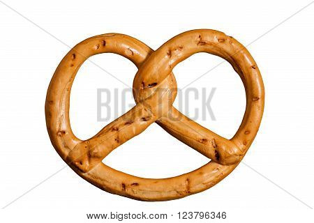 pretzel isolated on white background. closeup clipping path