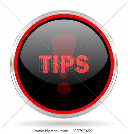 tips black and red metallic modern web design glossy circle icon
