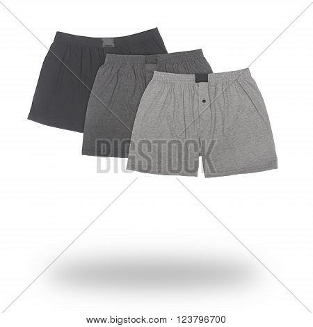 three male boxers isolated on white background