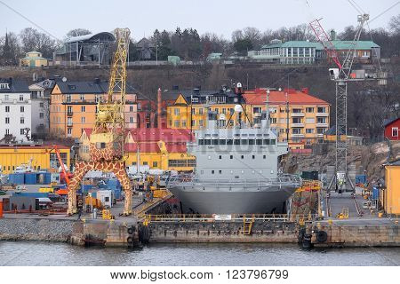 Stockholm, Sweden - March, 19, 2016: The image of shipyard in Stockholm, Sweden