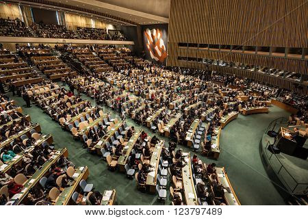 NEW YORK USA - Sep 28 2015: Conference Room of the United Nations in New York. President of Poland Andrzej Duda speaks at the opening of the 70th session of the General Assembly UN