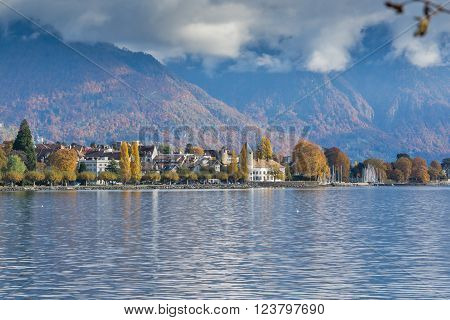 Panoramic view to Vevey, canton of Vaud, Switzerland