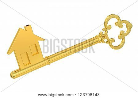 Golden home key with house silhouette 3D rendering