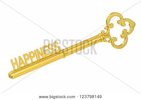 Happiness concept with golden key 3D rendering