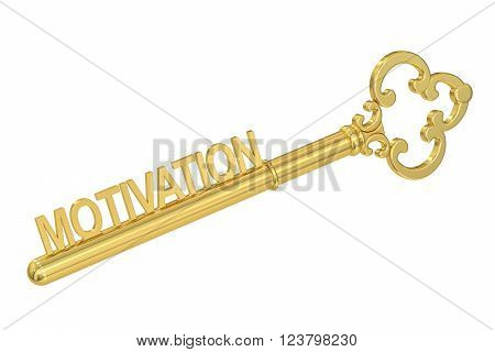 Motivation concept with golden key 3D rendering